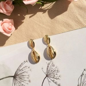14K Gold Plated Shell Drop Earring Cowrie Beach